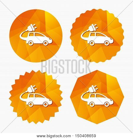 Electric car sign icon. Hatchback symbol. Electric vehicle transport. Triangular low poly buttons with flat icon. Vector