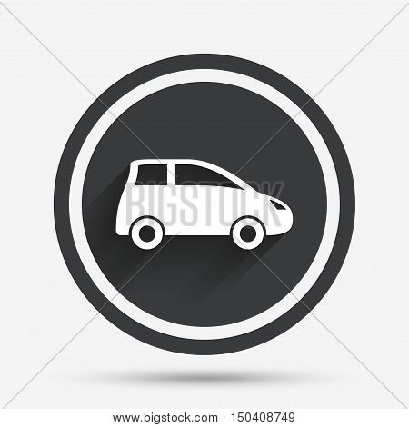 Car sign icon. Hatchback symbol. Transport. Circle flat button with shadow and border. Vector