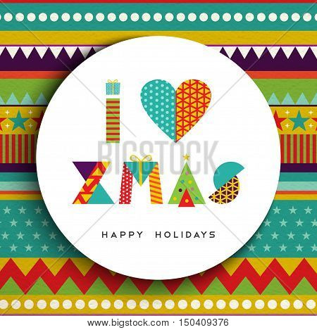 I Love Christmas Greeting Card Design In Fun Color