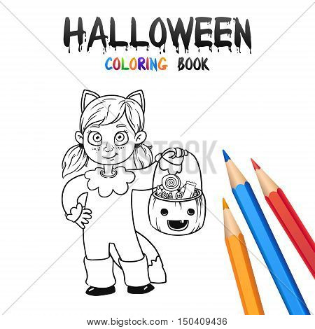 Kid trick or treating in Halloween costume Cat. Halloween Coloring Book. Illustration for children vector cartoon character isolated on white background.