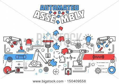 Horizontal Assembly Concept with assembly of structures pieces of the puzzle and colored title vector illustration