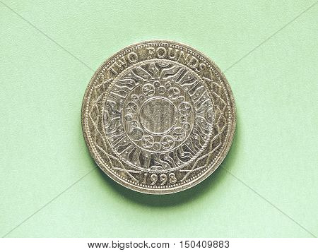 Vintage Gbp Pound Coin - 2 Pounds