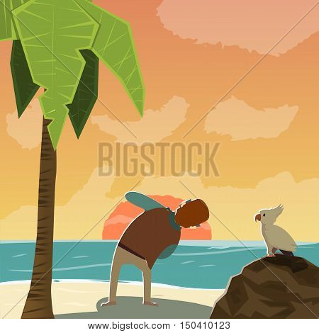 Flat photographer character taking photo of sunset near bird palm tree on tropical sea shore vector illustration