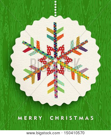 Merry Christmas Snowflake Design In Happy Colors
