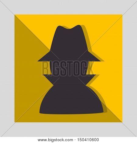 hacker thief man inside yellow frame. vector illustration