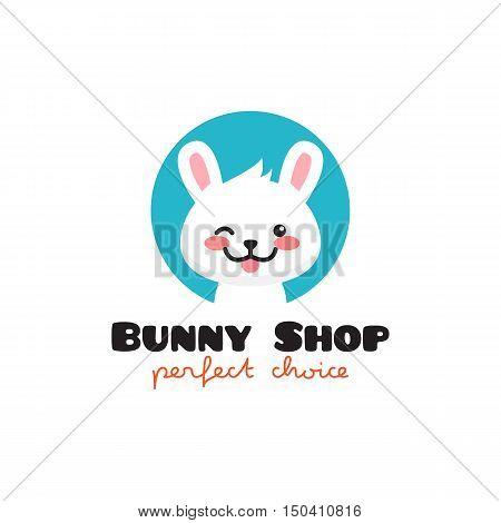 Vector cartoon rabbit logo. Cute mascot bunny symbol