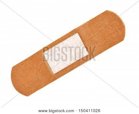 Adhesive plaster isolated on white background. Flat lay top view