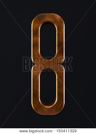 Golden Scratch Alphabet Letter Symbol 8 Eight