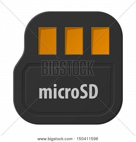 Micro SD flat icon with long shadow for web design