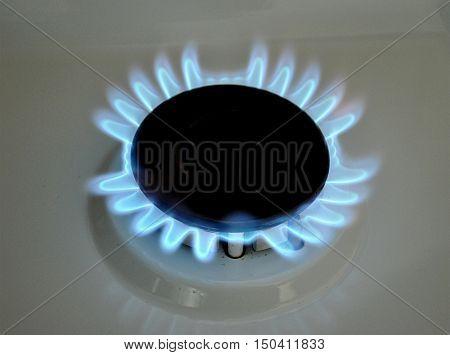 Closeup view of a modern gas stove