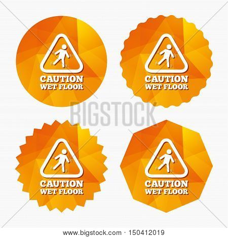 Caution wet floor sign icon. Human falling triangle symbol. Triangular low poly buttons with flat icon. Vector