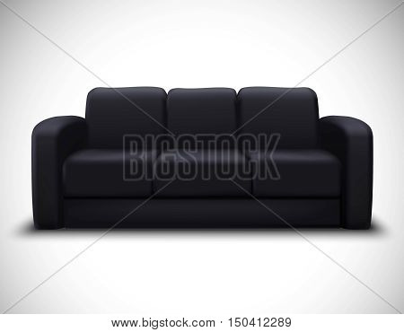 Modern interior design realistic mockup poster with black leather sofa for living room furniture arrangement vector illustration