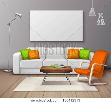 Modern interior colors choice and furniture arrangement design realistic mockup poster with decorative pillows and armchair vector illustration