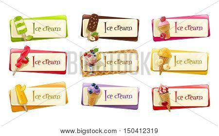 Vector set of banners with ice cream decorated with strawberries, raspberries, blueberries, banana, kiwi, lemon, nuts and chocolate