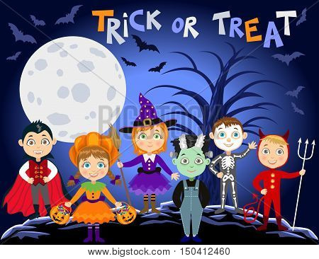 Children in halloween costumes. Vampire Dracula devil witch pumpkin zombie skeleton. Halloween background