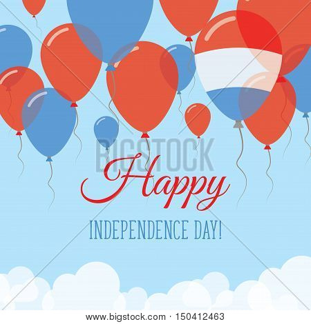 Luxembourg Independence Day Flat Greeting Card. Flying Rubber Balloons In Colors Of The Luxembourger