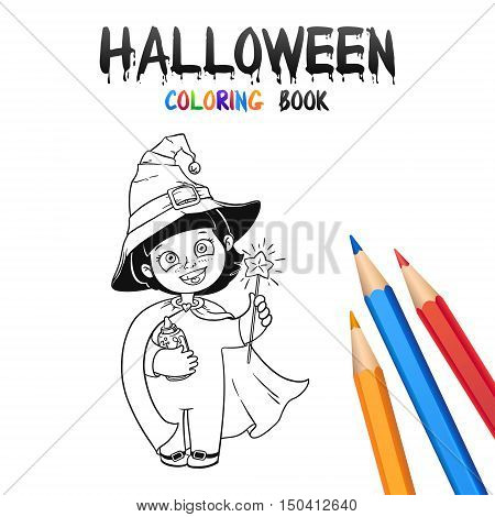 Little Witch Girl in Halloween Costume and Hat. Halloween Coloring Book. Illustration for children vector cartoon character isolated on white background.