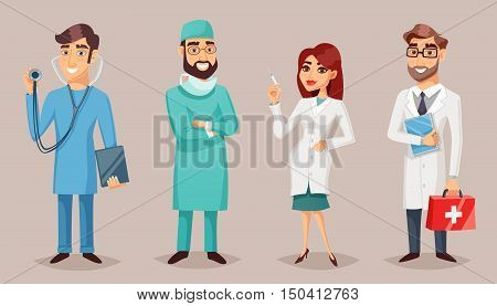 Health care nursing medical professionals people retro cartoon poster set with practitioner nurse surgeon dentist vector illustration