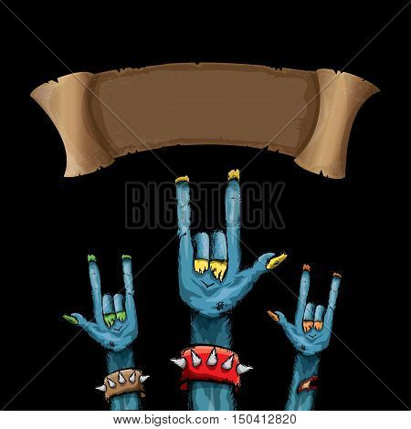 Zombie hand shows rock n roll gesture, hand drawn vector illustration. Zombie party halloween background
