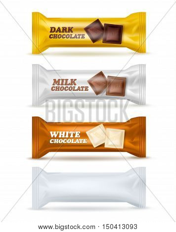 Set of four similar isolated snack packages editable with various labels dark milk white chocolate and blank with shadows vector illustration