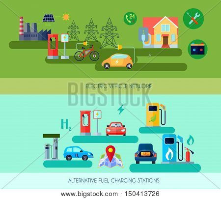Alternative energy vehicles horizontal banners set with electric car symbols flat isolated vector illustration