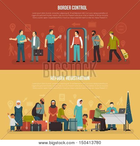 Immigration horizontal banners set of border control and refugee registration design compositions flat vector illustration