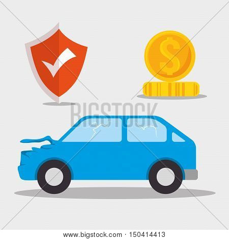 car crash insurance service. colorful design. vector illustration