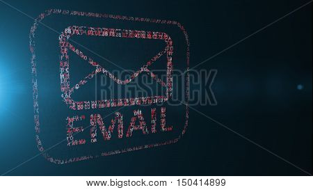 email. Email written computer code. E-mail address written in hexadecimal