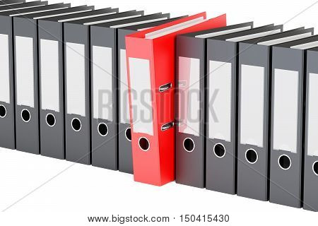 row from ring binders 3D rendering isolated on white background