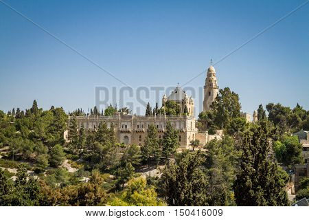 JERUSALEM ISRAEL - OCTOBER 5: The Dormition Abbey and the Institute for the Study of the Bible outside the walls of the Old City in Jerusalem Israel on October 5 2016