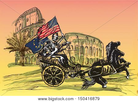 An hand drawn vector illustration. Antiquity as contemporary theme - EU and USA may win together ... APOLLO AND DIANA palm and Colosseum