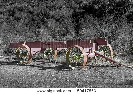 old steel wagon frame used by pioneer in Western country Utah USA