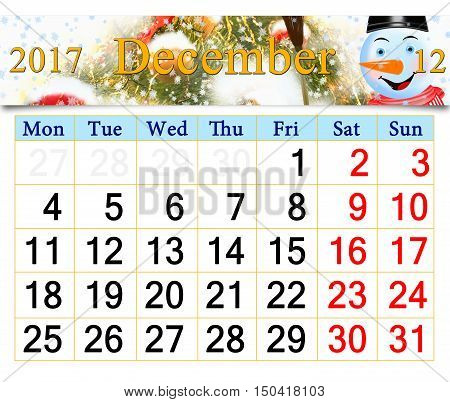 beautiful calendar for December 2017 with horizontal ribbon of picture of New Year tree and fabulous snowman