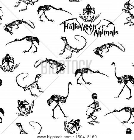 Halloween animals - black skeletons of reptiles (crocodiles lizards frogs) monkeys and birds (ostriches and herons) on white background. Seamless pattern.