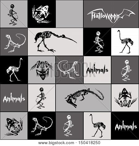 Halloween animals - black and white skeletons of reptiles (crocodiles lizards frogs) monkeys and birds (ostriches and herons) in grey black white squares and rectangles. Seamless pattern.