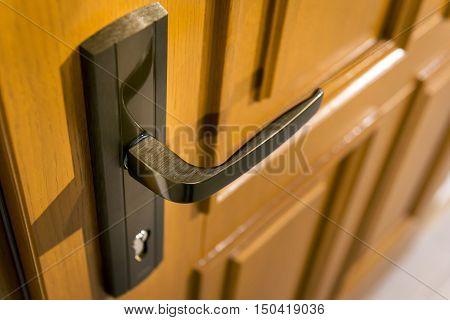 Detail of wooden door with metal handle