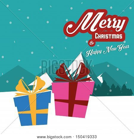 Gift with bowtie icon. Merry Christmas season celebration and decoration theme. Colorful design. Vector illustration