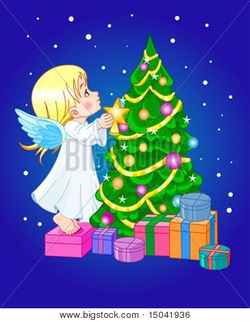 Angel putting star on Christmas tree