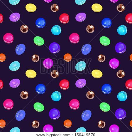 Lollipops and candies cartoon seamless vector pattern.