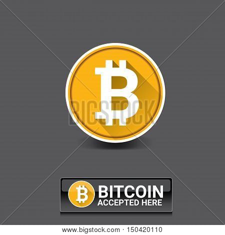 vector Bitcoin symbol. bitcoin accepted here icon or banner