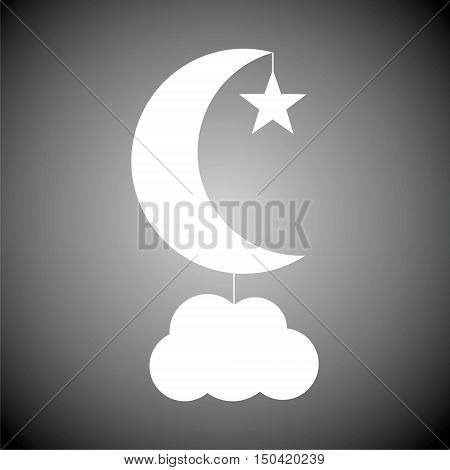 Moon, star and cloud icon on gray background