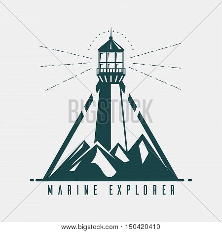 Old banner with lighthouse in mountains and marine explorer text below. Vintage logo of signal optical beacon for maritime pilot or sailor. Ideal for seaside building and nautical badge theme