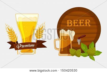 Barrel or keg with beer and glassware goblet with foam, hop and barley or malt and ribbon saying quality. May be used for alcohol banners at restaurant, brewery emblem design, bar badge