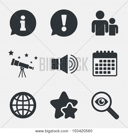 Information sign. Group of people and speaker volume symbols. Internet globe sign. Communication icons. Attention, investigate and stars icons. Telescope and calendar signs. Vector