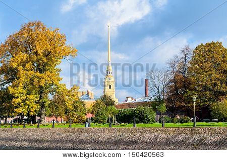 Architecture landscape of St Petersburg - belfry of Peter and Paul cathedral in sunny autumn day in Peter and Paul fortress. Autumn view of St Petersburg landmark