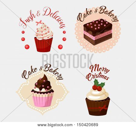 Cake and ice cream baker with berries collection. Pastry biscuit with strawberry or cherry with fresh and delicious, merry christmas text. Nice fitting for restaurant logo or shop banner