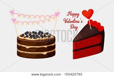 Piece of pie or biscuit or cake with bilberry. Pastry or bakery with stick and heart on it saying happy valentines day, happy birthday celebration with flags. For celebration logo or gift emblem, shop sign
