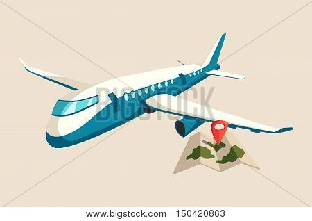 Plane or airplane above map of islands with marker. Jet or aircraft flying in sky with turbine on airways. Commercial airliner logo or flight banner. Perfect for tourism or travel, aviation theme