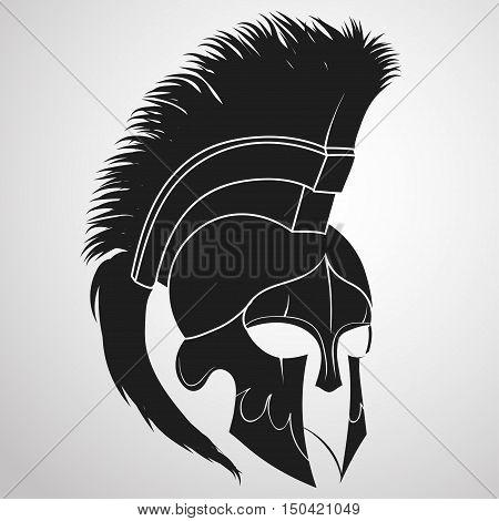 Spartan Helmet silhouette, Greek warrior - Gladiator, legionnaire heroic soldier. vector