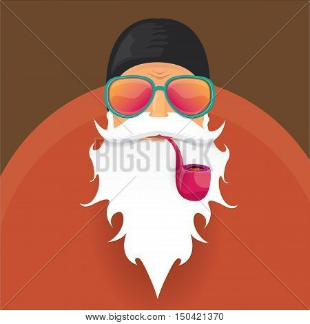 vector biker santa claus with smoking pipe. Christmas hipster poster for party or greeting card.